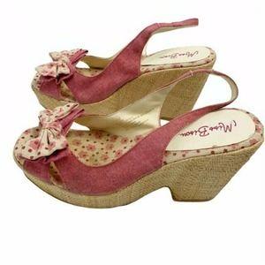 Miss Bisou Vintage Chunky Platform Heels Pink 9.5